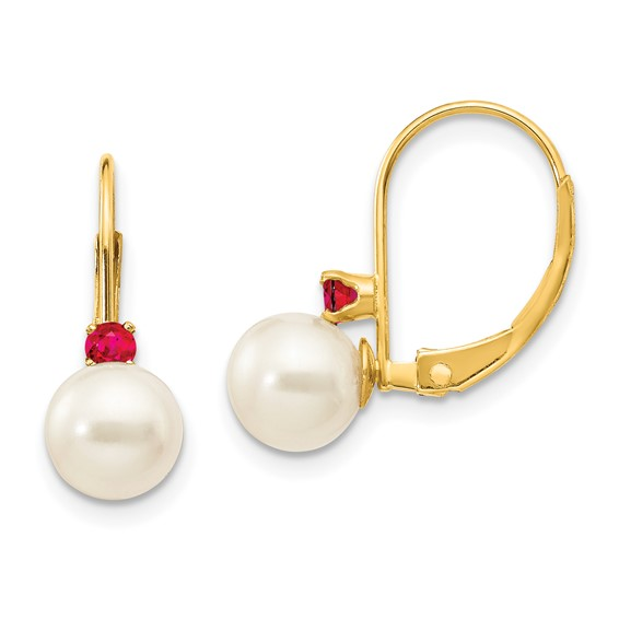 14k Gold 6.5mm Freshwater Cultured Pearl Ruby Leverback Earrings