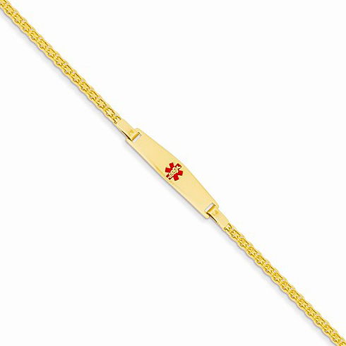 14kt Yellow Gold 6in Children's Medical ID Bracelet