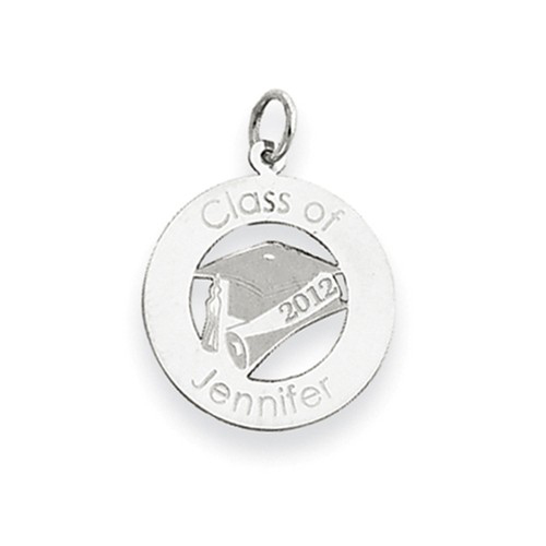 14kt White Gold 3/4in Round Personalized Graduation Cut Out Charm