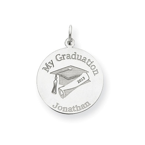 14kt White Gold 3/4in Round Personalized My Graduation Charm