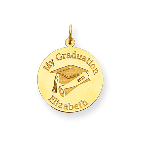 14kt Yellow Gold 3/4in Round Personalized My Graduation Charm