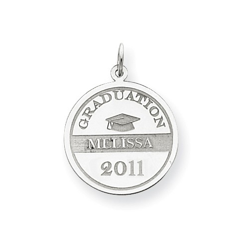 14kt White Gold 3/4in Round Personalized Graduation Charm