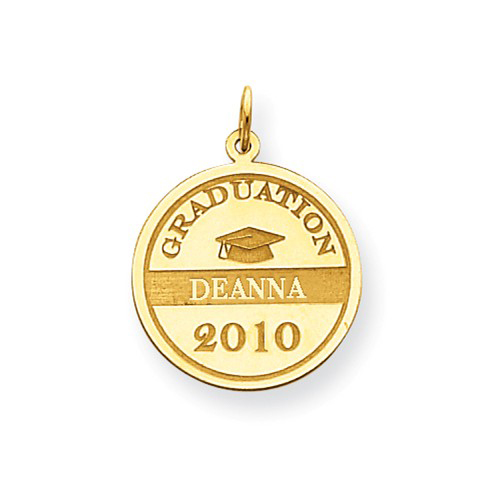 14kt Yellow Gold 3/4in Round Personalized Graduation Charm