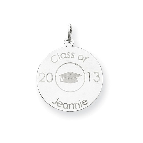 14kt White Gold 3/4in Personalized Graduation Disc Charm