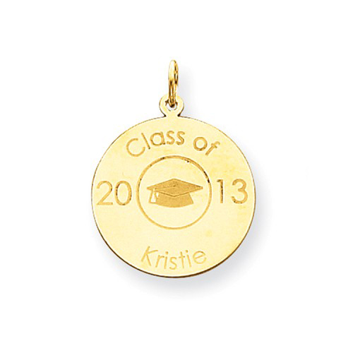 14kt Yellow Gold 3/4in Personalized Graduation Disc Charm