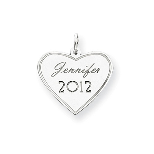 14kt White Gold 3/4in Personalized Graduation Heart Charm