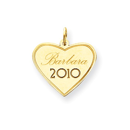 14kt Yellow Gold 3/4in Personalized Graduation Heart Charm