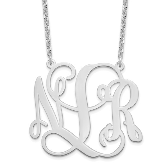 Sterling Silver 1 1/8in Monogram Plate Pendant