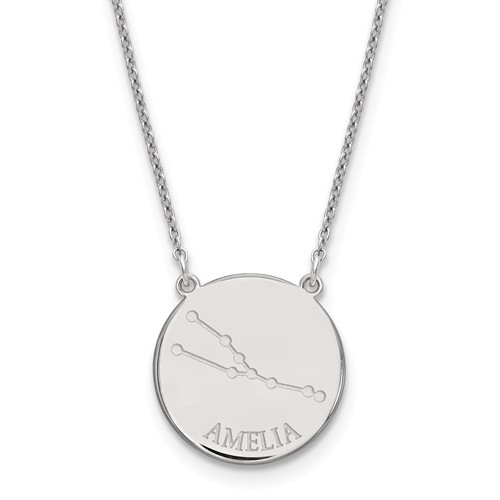 Sterling Silver 3/4in Taurus Constellation Disc Engravable Necklace