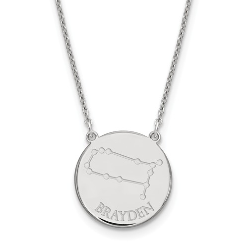 Sterling Silver 3/4in Gemini Constellation Disc Engravable Necklace