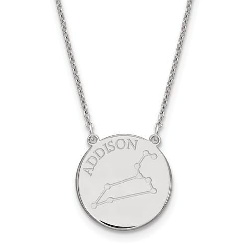 Sterling Silver 3/4in Leo Constellation Disc Engravable Necklace