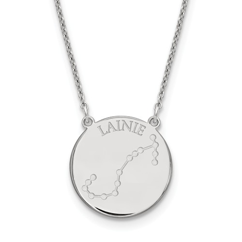 Sterling Silver 3/4in Scorpio Constellation Disc Engravable Necklace
