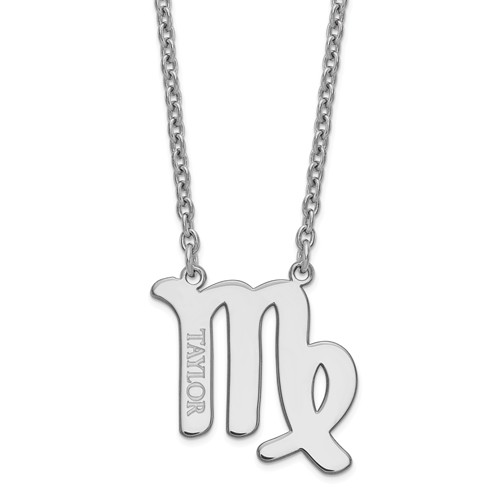 Sterling Silver 3/4in Virgo Zodiac Sign Engravable Necklace