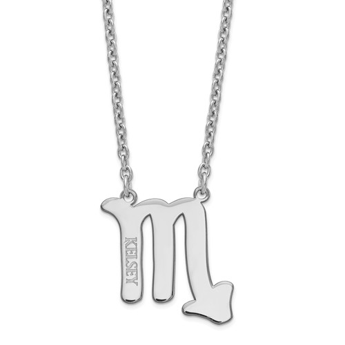 Sterling Silver Scorpio Zodiac Sign Engravable Necklace