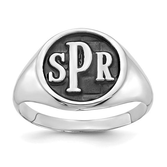 Antiqued Sterling Silver Monogram Signet Ring