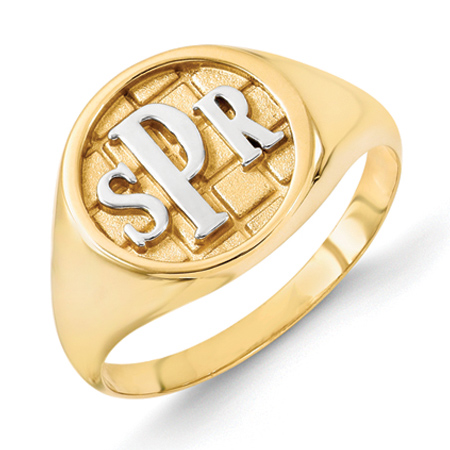 Gold Plated Sterling Silver Monogram Signet Ring