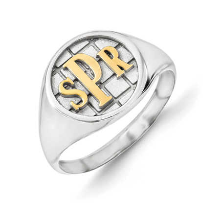 Sterling Silver Monogram Signet Ring with Yellow Rhodium