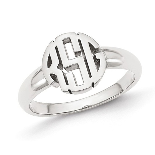 14kt White Gold Ladies' Circle Monogram Ring