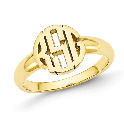 14kt Yellow Gold Ladies' Circle Monogram Ring