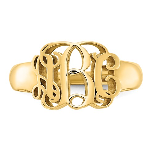 Gold Plated Sterling Silver Interlocking Monogram Ring