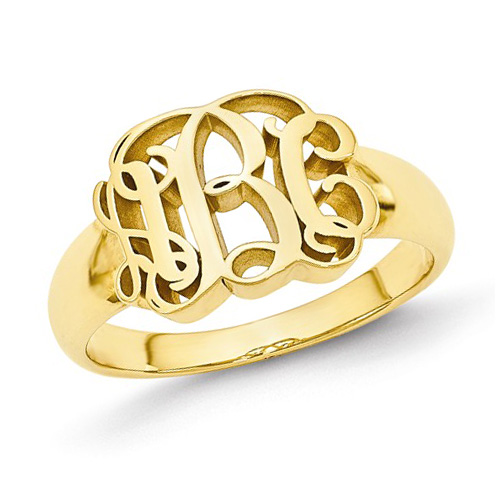 14kt Yellow Gold Ladies' Script Monogram Ring