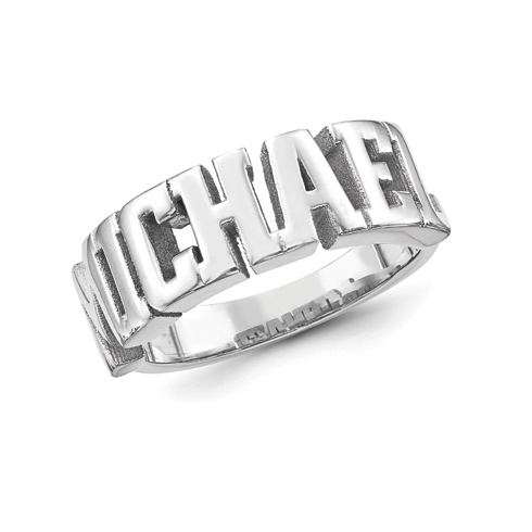 Sterling Silver Men's Large Block Letters Name Ring