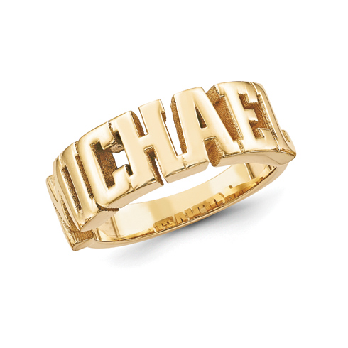 Gold Plated Sterling Silver Large Block Letters Name Ring