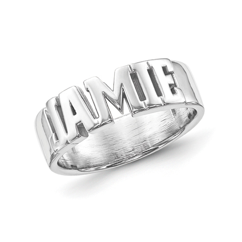 Sterling silver block letters name ring xnr54ss joy jewelers for Block letter rings