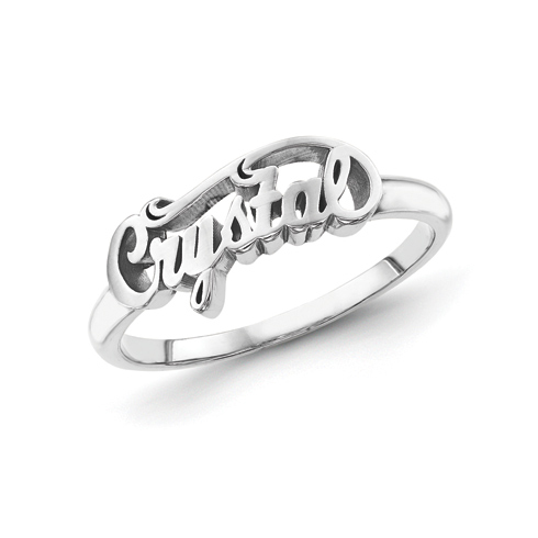 Sterling Silver Script Letters Fancy Name Ring