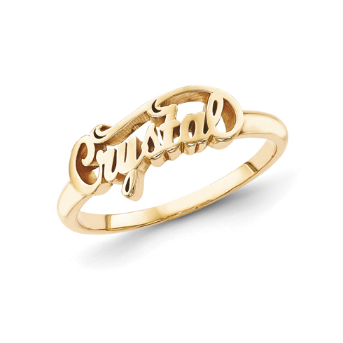 Gold Plated Sterling Silver Script Letters Fancy Name Ring
