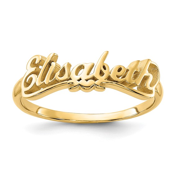 Popular Gold Plated Sterling Silver Script Letters Name Ring with Heart  PG06