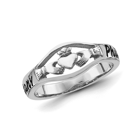 Sterling Silver Script Claddagh Name Ring