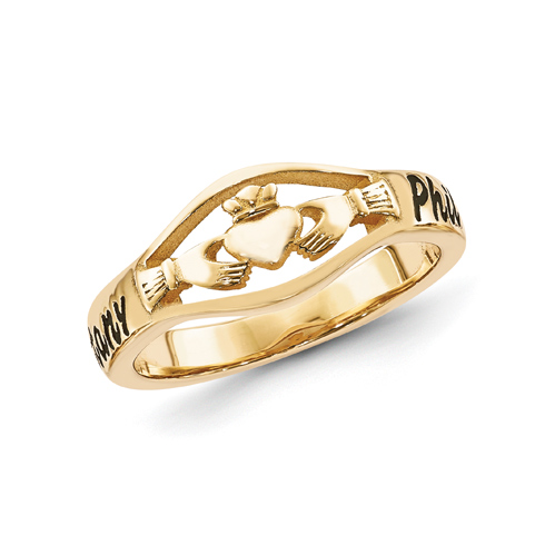 Gold Plated Sterling Silver Claddagh Name Ring