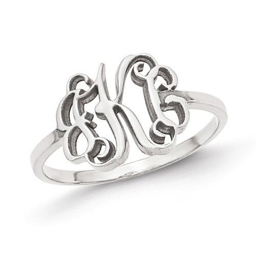 14kt White Gold Ladies' Slender Script Monogram Ring
