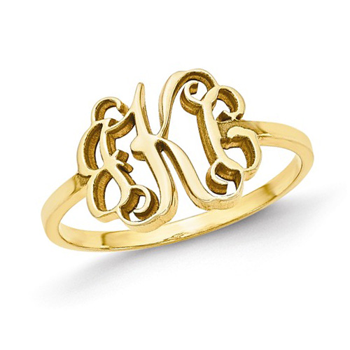 14kt Yellow Gold Ladies' Slender Script Monogram Ring