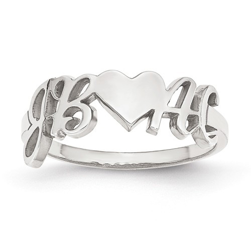 14kt White Gold Initials and Heart Designer Ring