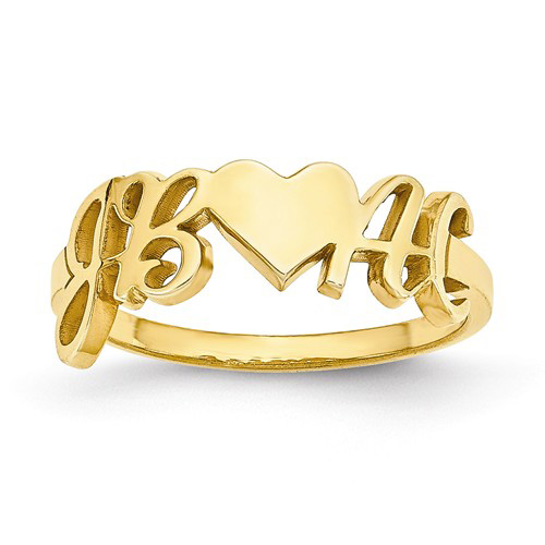 14kt Yellow Gold Initials and Heart Designer Ring