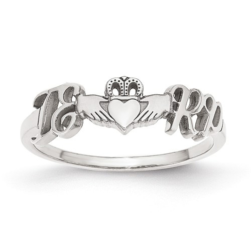 14kt White Gold Initials and Claddagh Designer Ring