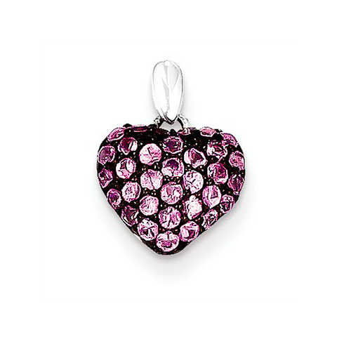 14kt White Gold 1/2in Pink Sapphire Pendant