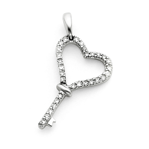 14kt White Gold 1/8 ct Diamond Heart Key Charm
