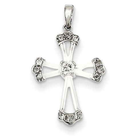14kt White Gold 11/16in Diamond Cross