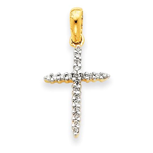 14kt Yellow Gold 15/16in Diamond Cross Pendant