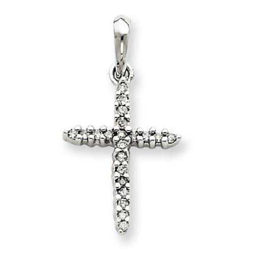 14kt White Gold 3/4in Diamond Cross Pendant