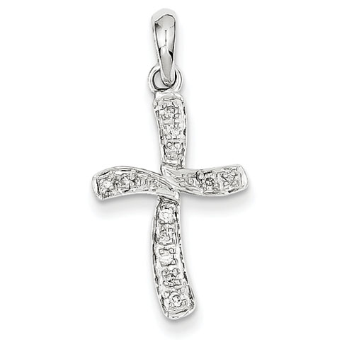 14kt White Gold 13/16in Diamond Cross Pendant