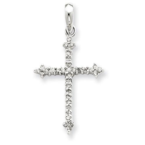 14kt White Gold 1/4 ct Diamond Cross 7/8in Pendant