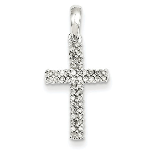 14kt White Gold 3/4in Diamond Latin Cross Pendant
