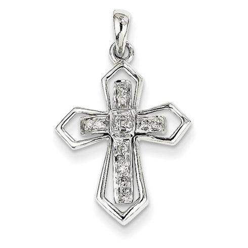 14kt White Gold 3/4in Diamond Inset Cross Pendant