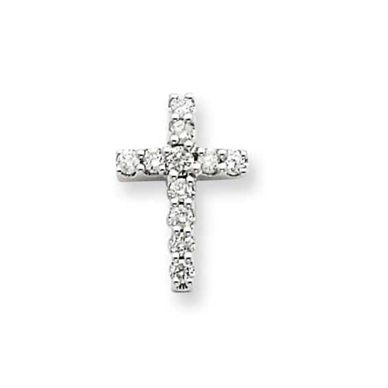 14kt White Gold 1/2in Diamond Cross Pendant