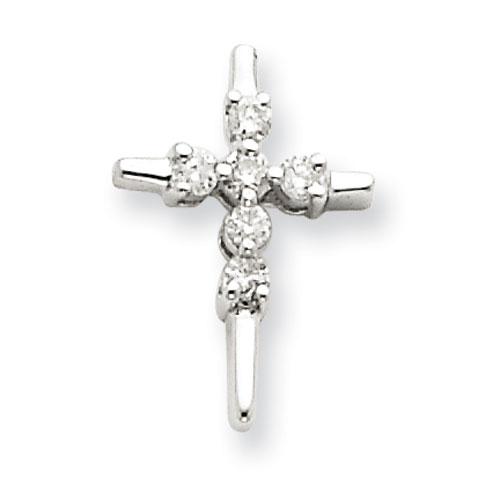 14kt White Gold 1/2in Diamond Cross Slide Pendant