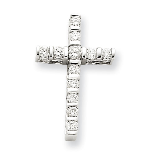 14kt White Gold 3/4in Diamond Cross Pendant with Bars